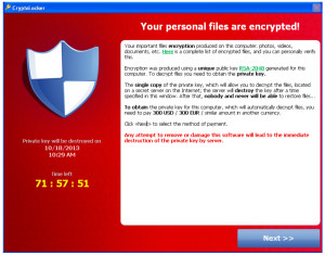 If you see this CryptoLocker image on your computer screen disconnect your computer from the internet immediately by removing your network cable or turning off the wireless connection. Also disconnect USB storage devices or network shares and turn off any cloud backup services you may use such as Dropbox or Office 365.