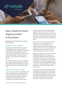 NZ teens digital profile Factsheet Cover