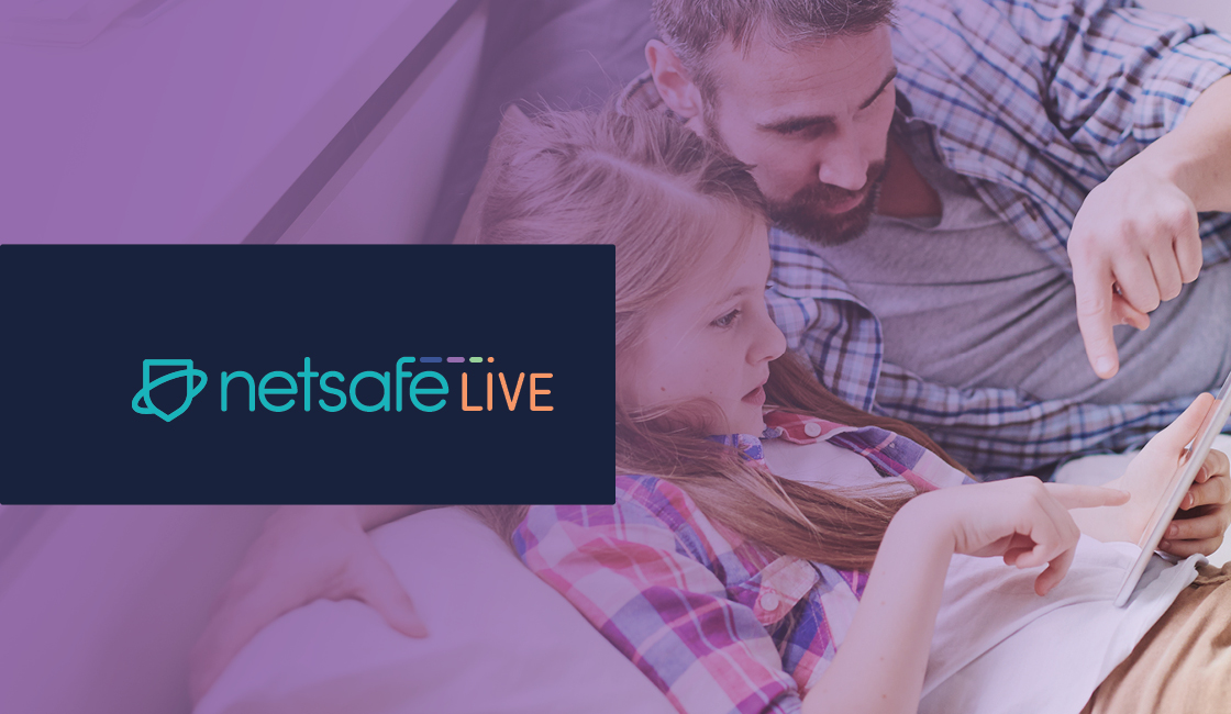 Dad looking at tablet with daughter, Netsafe LIve logo overlay