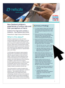 Thumbnail image to the NZ children's experiences of online risks and their perceptions of harms