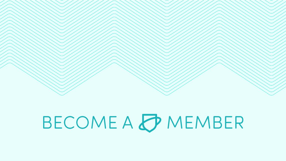 The words 'Become a member' with the Netsafe shield logo and a zigzag pattern in teal
