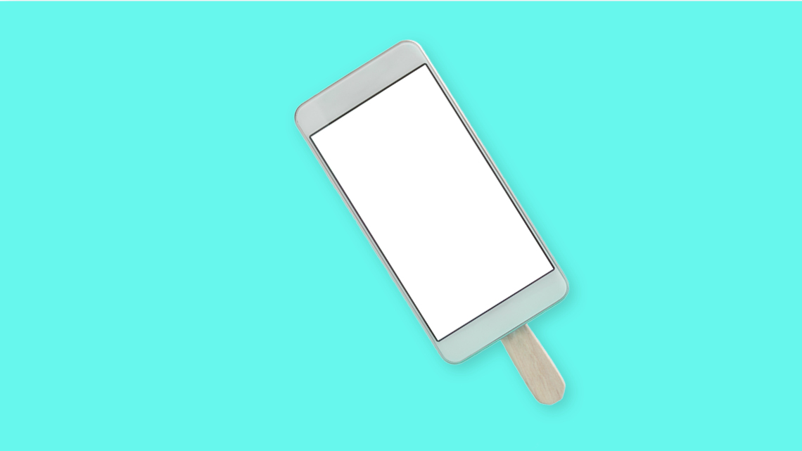 phone on popsicle stick