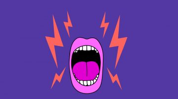 illustrated mouth yelling with lightning bolts on both sides