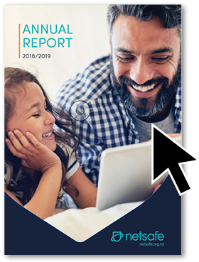 front cover of 2019 annual report with cursor icon