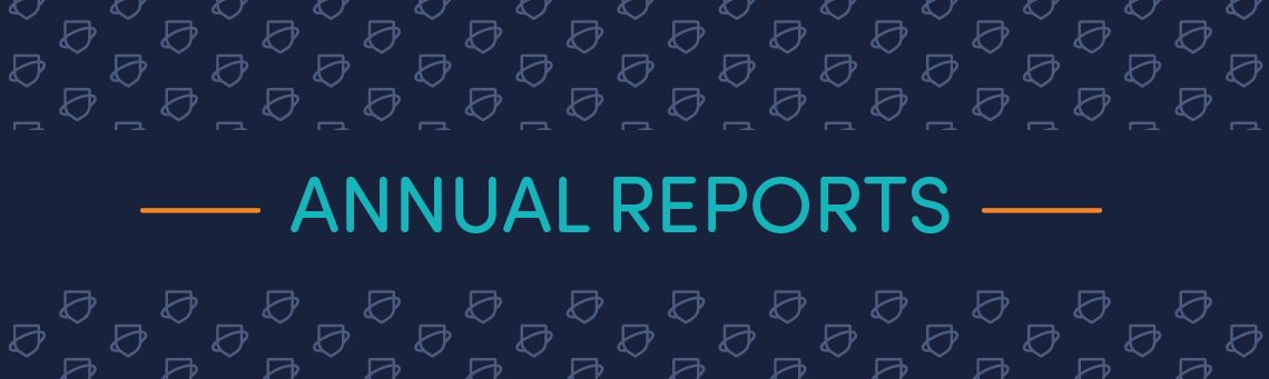 Annual Reports text on Navy background with Netsafe shield pattern