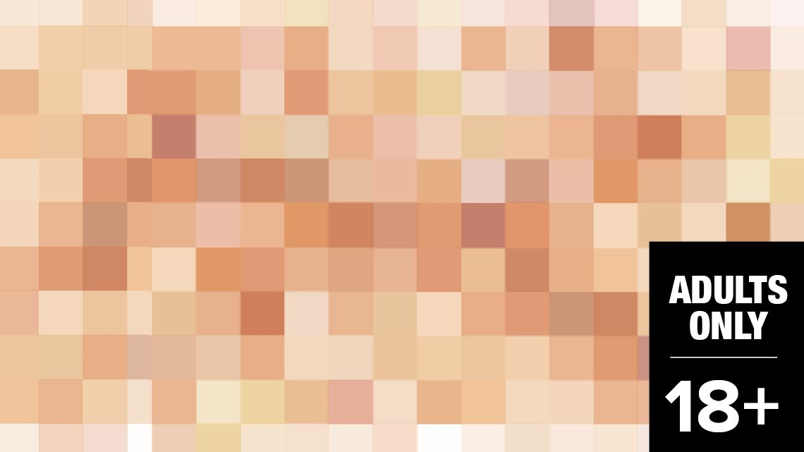 A pixellation effect with a stamp in the corner reading 'ADULTS ONLY 18+'