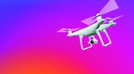 isolated drone on instagram gradient of red to purple blue