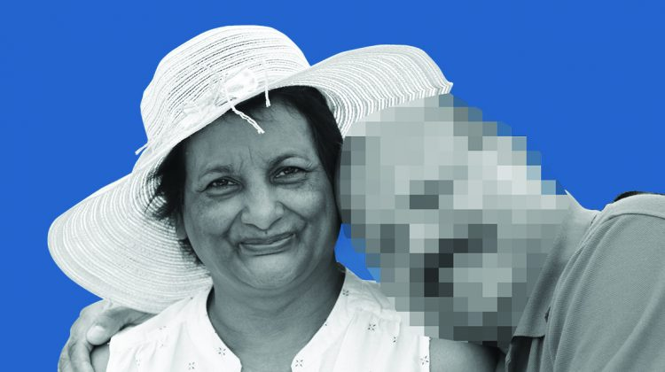 couple with man's face blurred out on facebook blue background