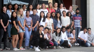 The 35 members of Netsafe's Youth Action Squad are photographed together