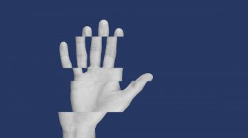 isolated holding up hand distorted