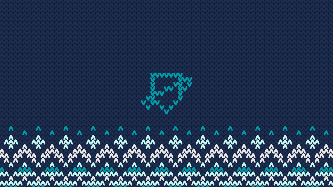 Knitted image of Netsafe's shield icon