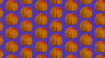 peach pattern on a purple background