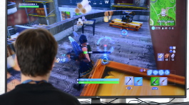 Young person playing Fortnite