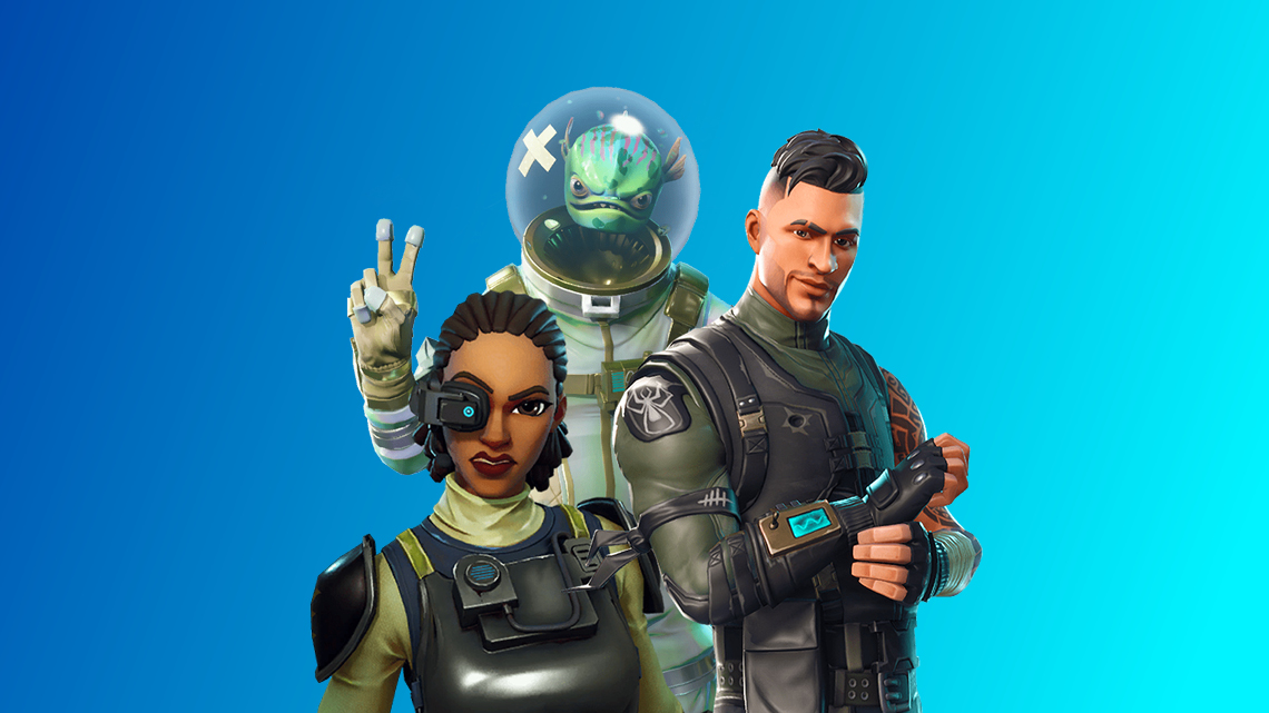 Fortnite characters on blue gradient