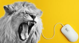 lion roaring with computer mouse