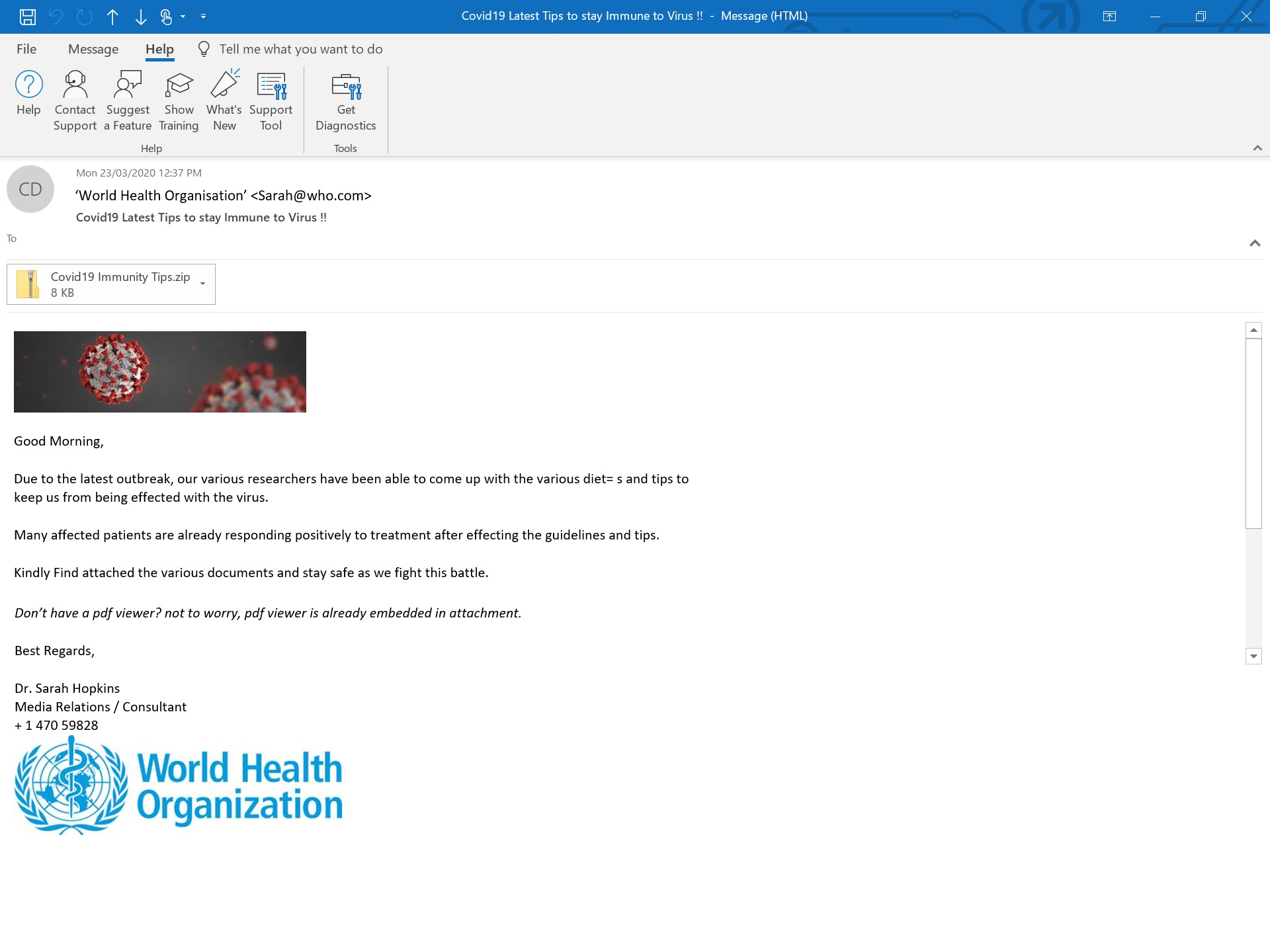 An example of the type of malicious email scam related to COVID-19