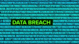 The words 'DATA BREACH' in lime green against a background of teal numbers