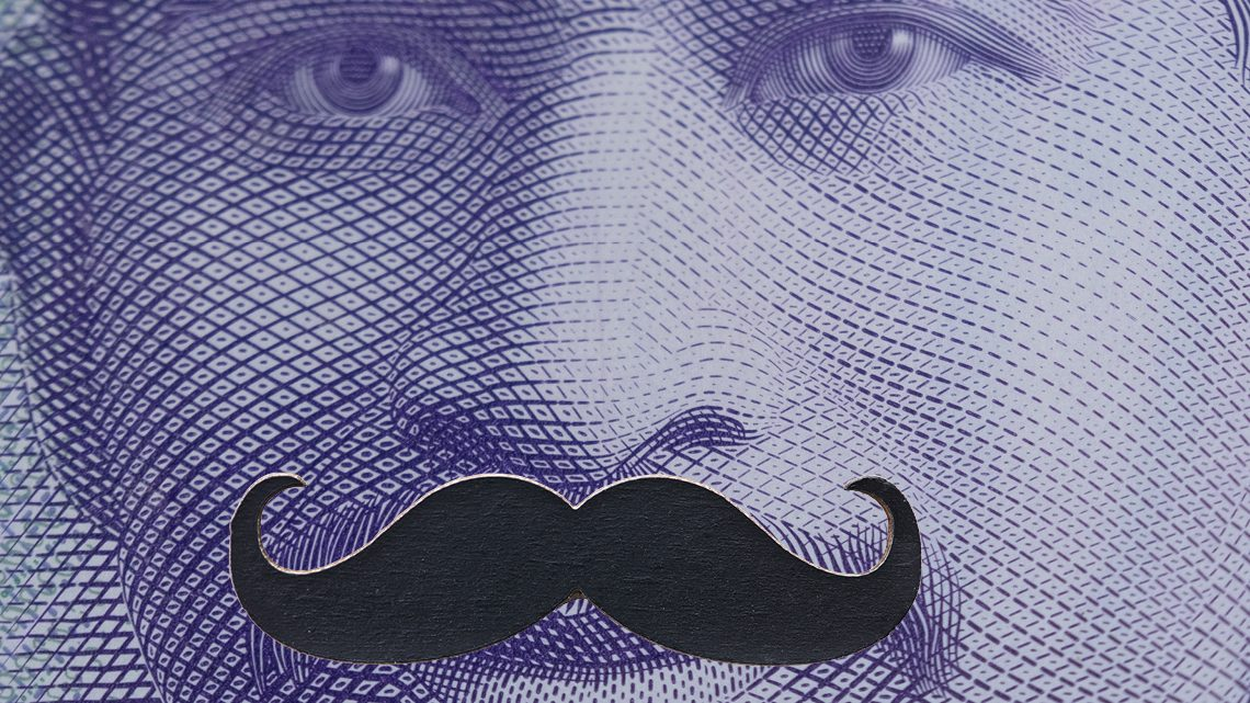 A zoomed in picture of the New Zealand $50 note with a moustache icon in place of Sir Apirana Ngata's real moustache