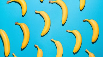 bananas on blue background