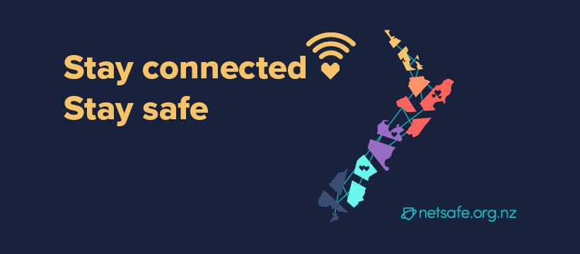 A map of NZ connected by lines with the words stay connected stay safe on the foreground