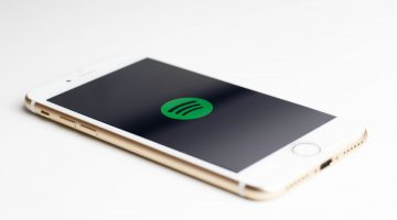 Phone with Spotify app on front