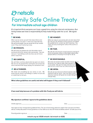 Family Online Safety Treaty for intermediate school age children