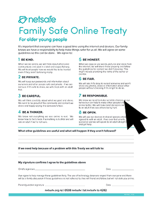 Family Online Safety Treaty for older young people