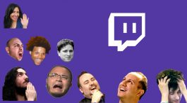 Face and icons on a purple background. Images via TwitchEmotes which is like emojis for Twitch