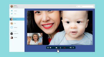 Interface showing video call between mother and child and grandparents
